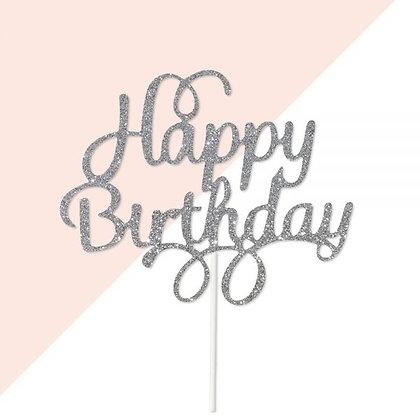 טופר לעוגה יום הולדת שמח כסף