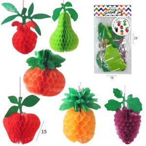 """ערכת קישוטים 6 פירות כ15 ס""""מ"""