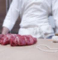 Butcher mit Rindfleisch