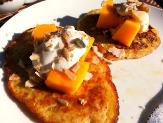 Buckwheat Pancakes with diced Mango