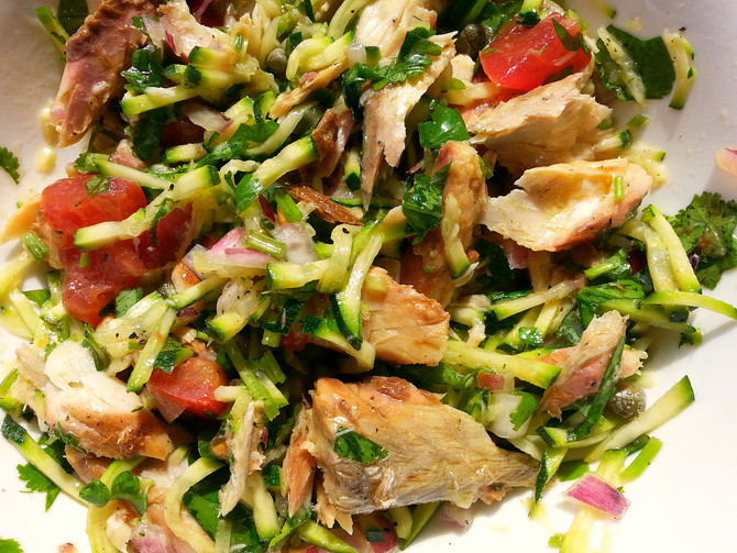 Grated Zucchini Salad with Mackerel