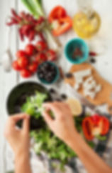Cooking School preparing a healthy salad