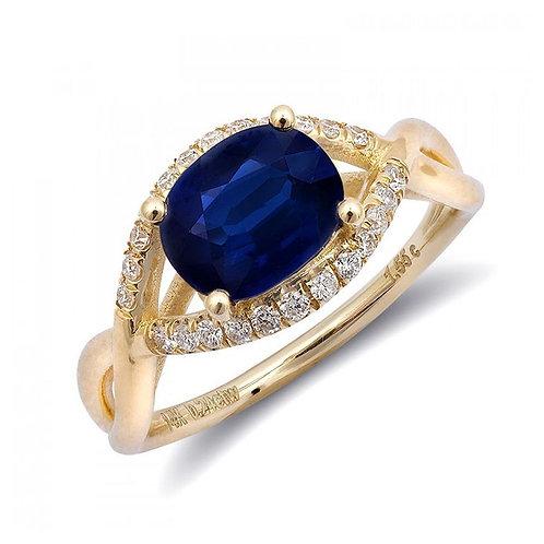 14k Yellow Gold 1.79ct TGW Blue Sapphire and White Diamond Ring