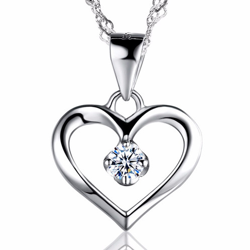 Elegant 925 sterling silver heart pendant necklace kings shop elegant 925 sterling silver heart pendant necklace aloadofball Images