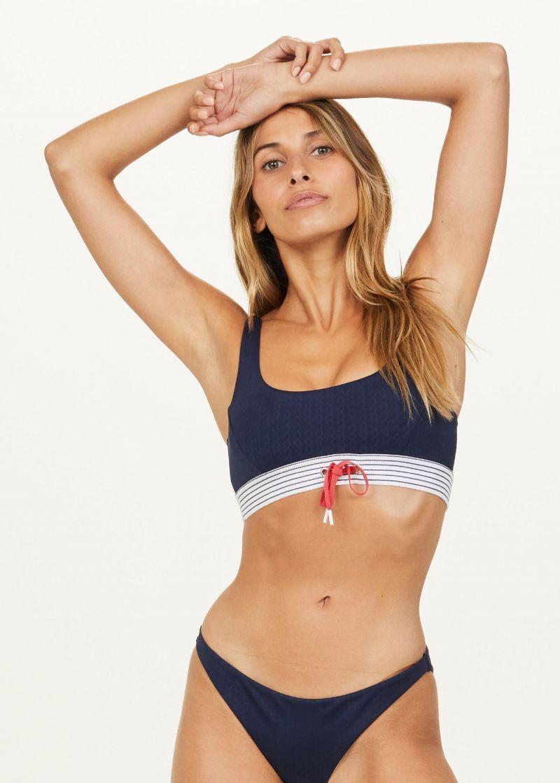 LIEGIA JASMINE BIKINI TOP by the upside. Navy blue and stripe bikini top