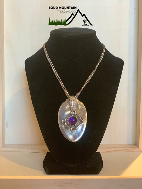 Vintage Spoon Necklace With Purple Pendant