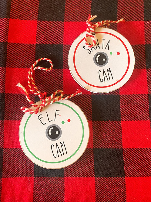 Santa & Elf Cam Wooden Ornaments