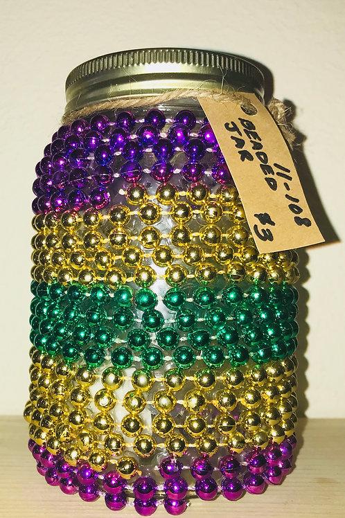 Mardi Gras Beaded Jar