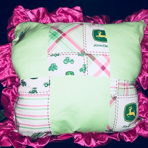 John Deere Pillow With Pink Trim