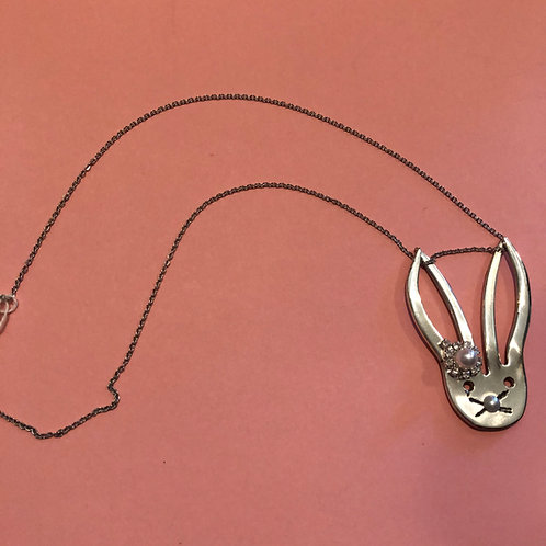 Handmade Vintage Silverware Jewelry Bunny Necklace