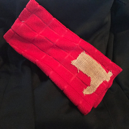 Red Kitchen Towel With Burlap Boot