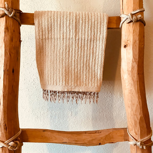 Hand Towel With Light Brown Beads