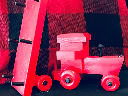 Handcrafted Wooden Red Tractor With Trailer