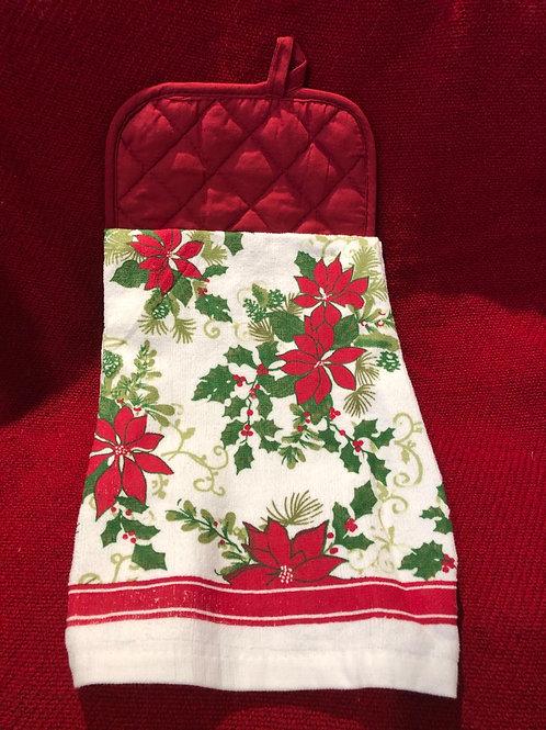 Christmas Poinsettia Kitchen Towel With Potholder