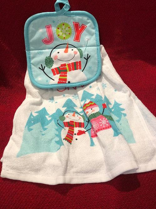 Christmas Snowman Kitchen Towel With Potholder