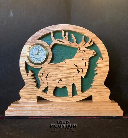 Handmade Wooden Elk Clock