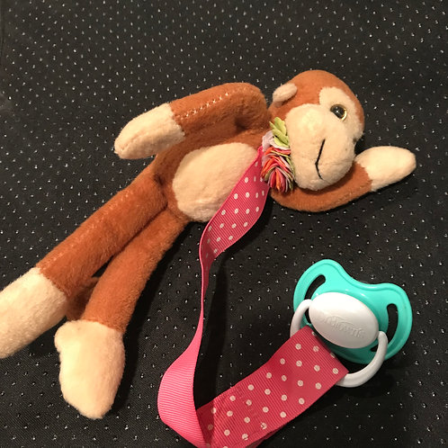 Monkey Stuffed Animal With Pacifier