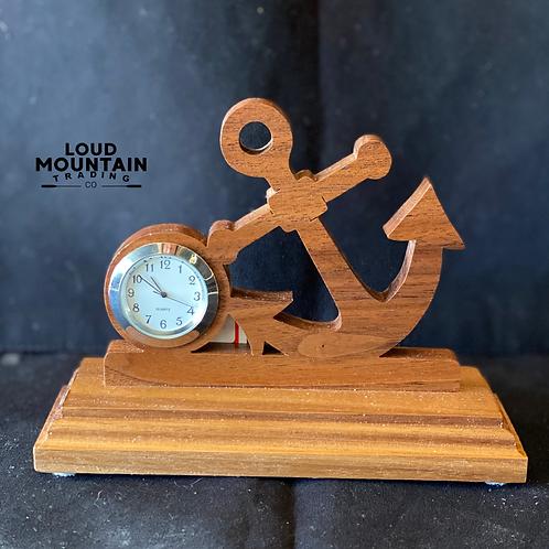Handmade Wooden Anchor Clock