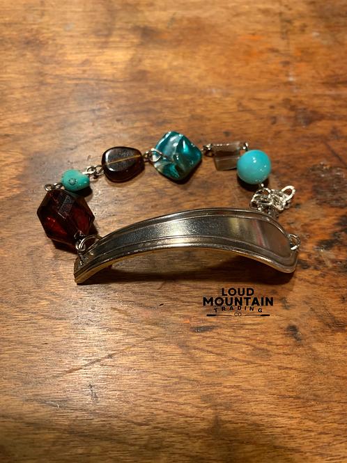 Vintage Silverware Bracelet w/ Turquoise Beads