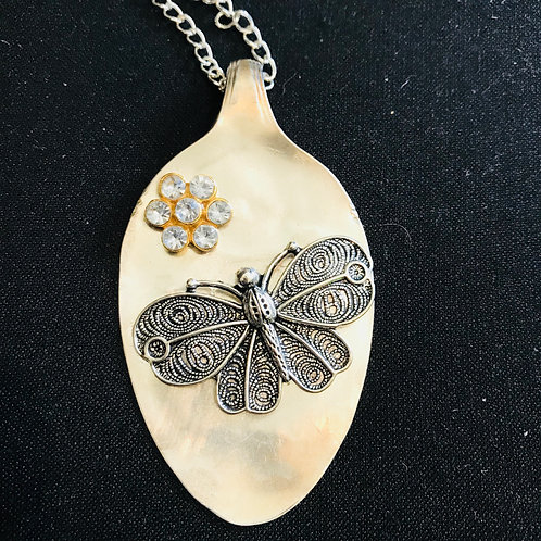 Vintage Spoon Necklace With Large Butterfly Pendant
