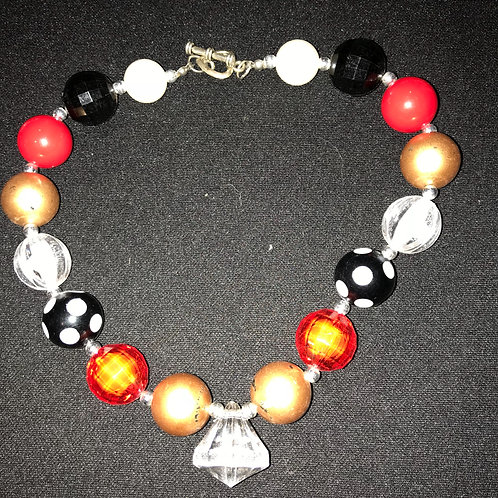 Child's Necklace Red/Gold/Black
