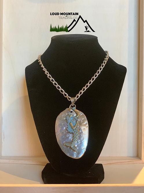 Vintage Spoon Necklace With Mermaid