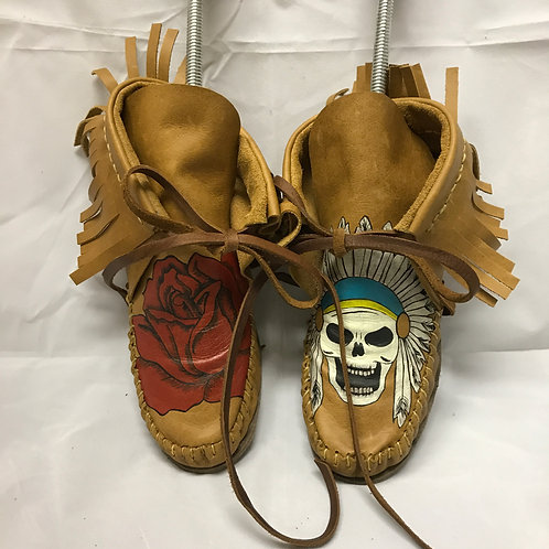 """""""Pretty Gritty"""" Tan Leather Moccasins"""