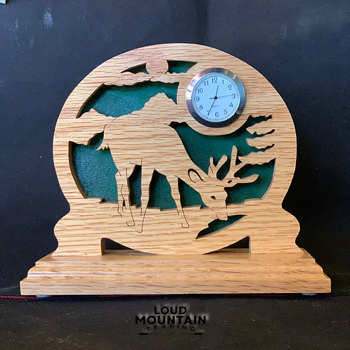Handmade Wooden Whitetail Deer Clock