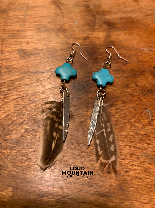 Turquoise & Feathers Earrings