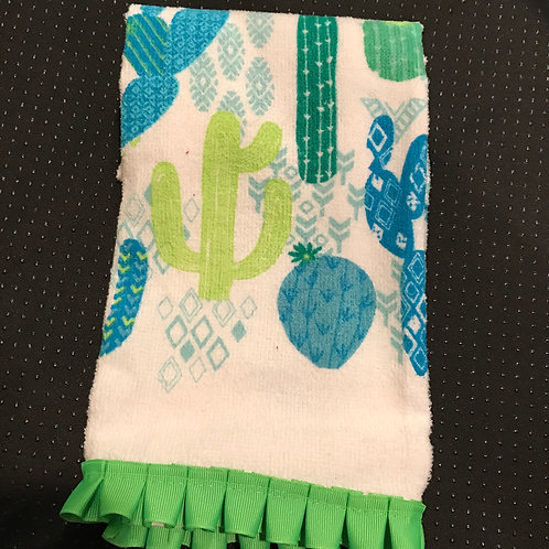 Cactus Hand Towel With Green Trim