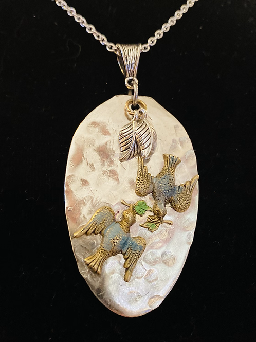 """24"""" Vintage Silverware Necklace With Two Doves"""