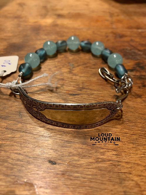 Vintage Silverware Bracelet w/ Aqua Beads