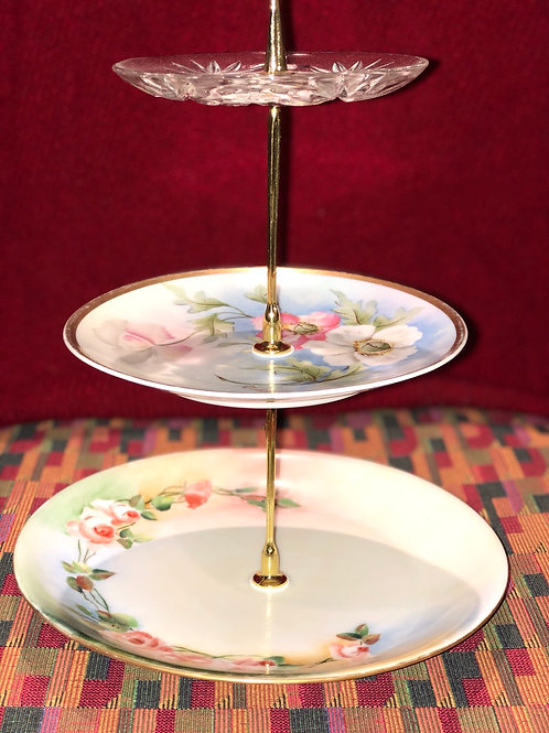 Flowered Plate Three Tiered Serving Plates