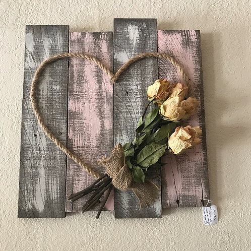 Rope Heart With Dried Roses On Barnwood