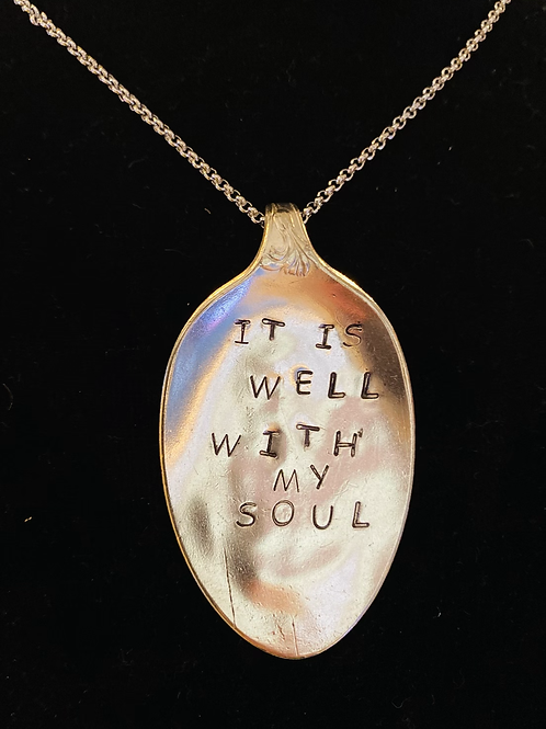 "21"" Vintage Silverware Necklace With ""All Is Well With My Soul"""