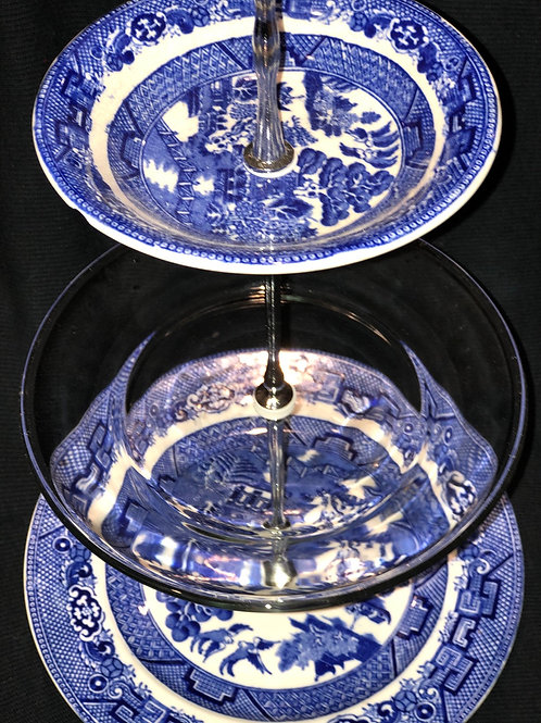 Blue Willow Three Tiered Serving Plates