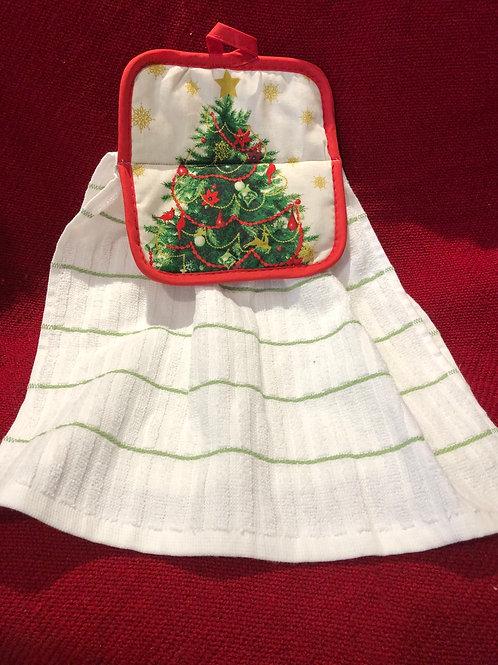 Christmas Tree Kitchen Towel With Potholder