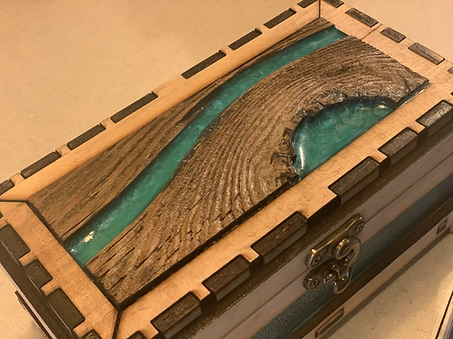 Handcrafted Wooden Treasure / Jewelry Box - Turquoise