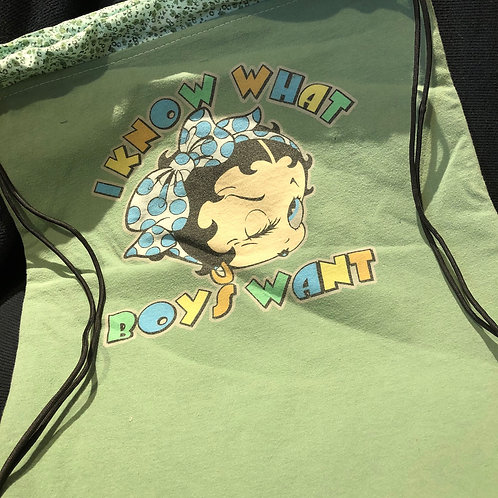 Betty Boop Green Drawstring Backpack