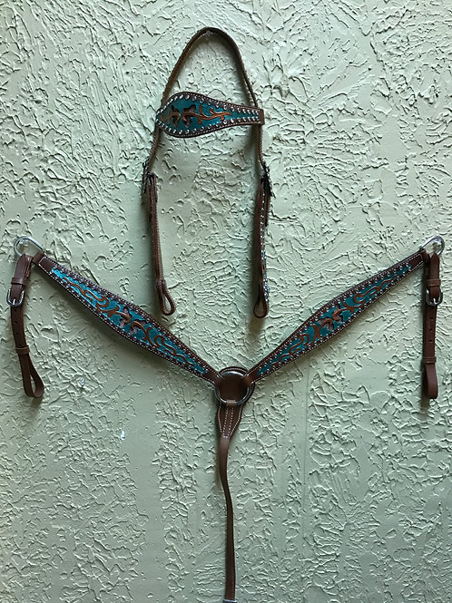 Headstall & Breast Collar Set-Turquoise & Copper Butterfly