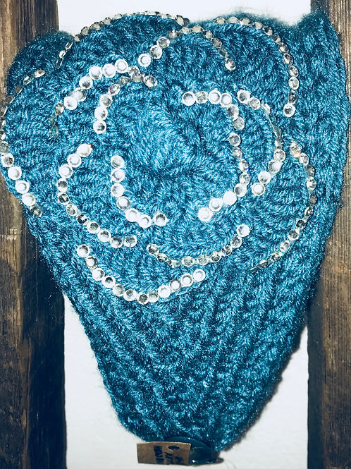 Knitted Aqua Headband With Crystals Flower