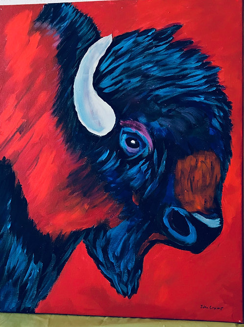 Acrylic Painted Red & Blue Bison on Canvas