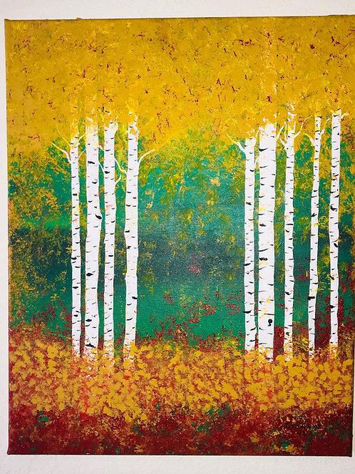 Acrylic Painted Aspen Trees On Canvas