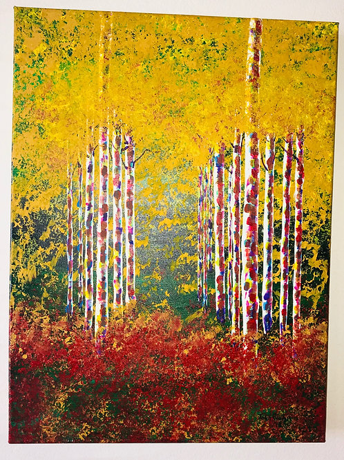 Acrylic Painted Aspen Trees On Canvas