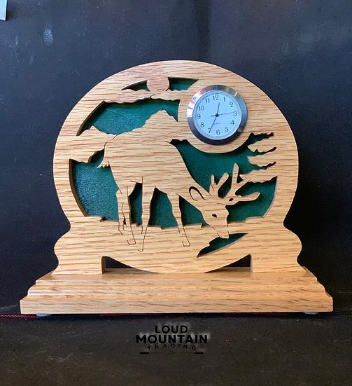 Handmade Wooden Whitetail Deer Clock