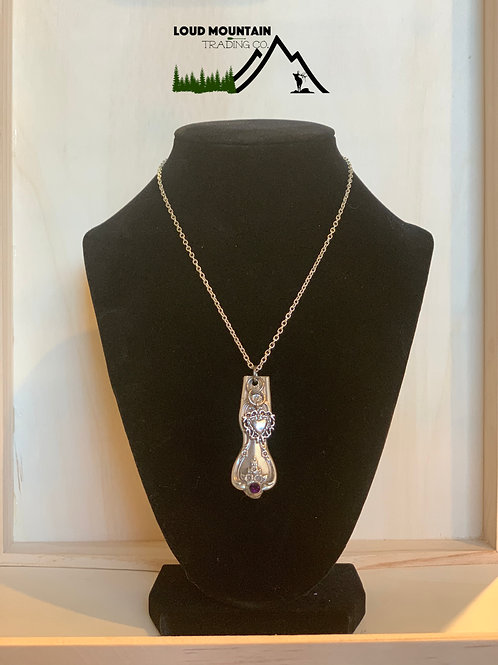 Vintage Silverware Necklace With Heart Charm And Purple Bead
