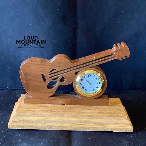 Handmade Wooden Guitar Clock - Small