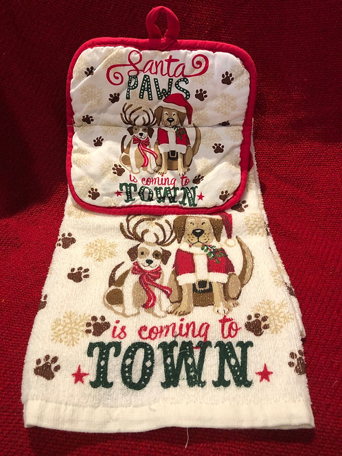 Christmas Dog Kitchen Towel With Potholder
