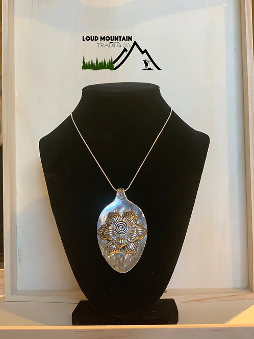 Vintage Silverware Spoon Necklace With Silver Flower