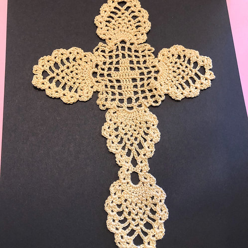 Handmade Crocheted Ivory Cross